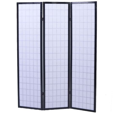 shoji folding room divider screen 3 panel black room