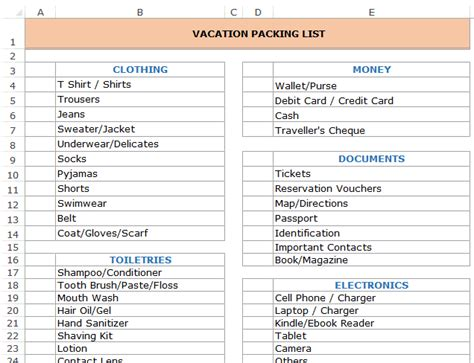 free packing list template for vacation travel or college