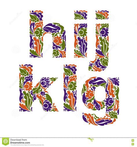 floral pattern font beautiful floral letters font cartoon vector