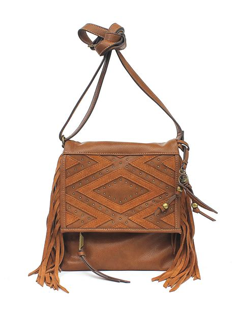 romy faux leather crossbody bag in brown
