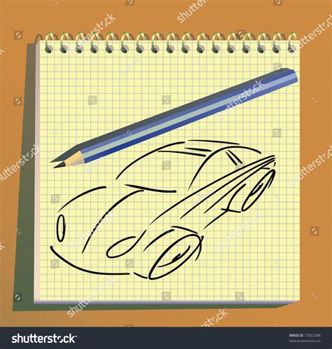 doodle for sign up sheet car doodle on paper sheet stock vector illustration