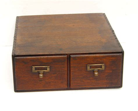 vintage library file card cabinet 2 drawer card catalog