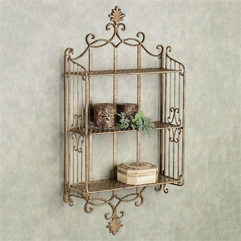 sarbazio antique gold iron wall shelf