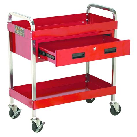steel tool cart w locking drawer