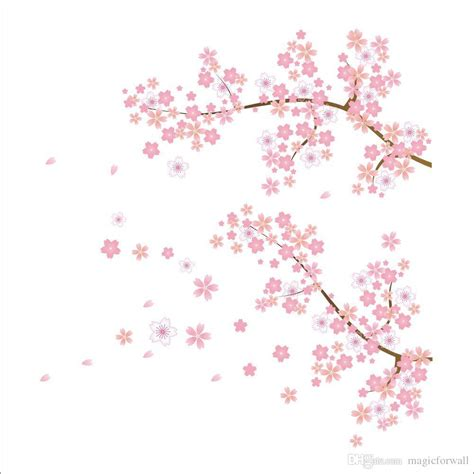 Pink Tree Flowers Jm7074 Stiker Dinding Wall Sticker pink flowers tree branches wall stickers new plum blossom living room bedroom background wall