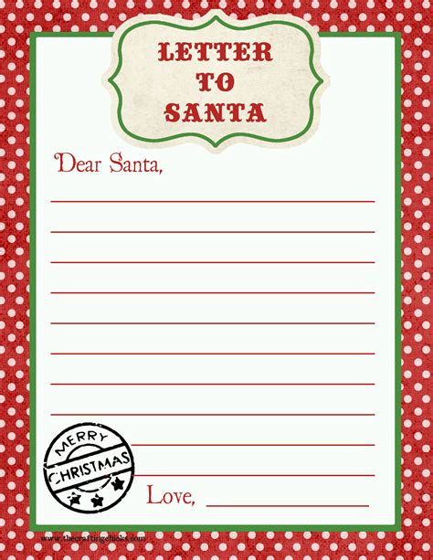 Printable Letter To Santa Template | letter to santa free printable download