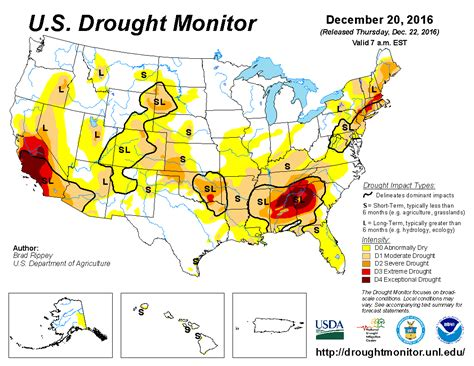 map us drought u s drought monitor update for december 20 2016
