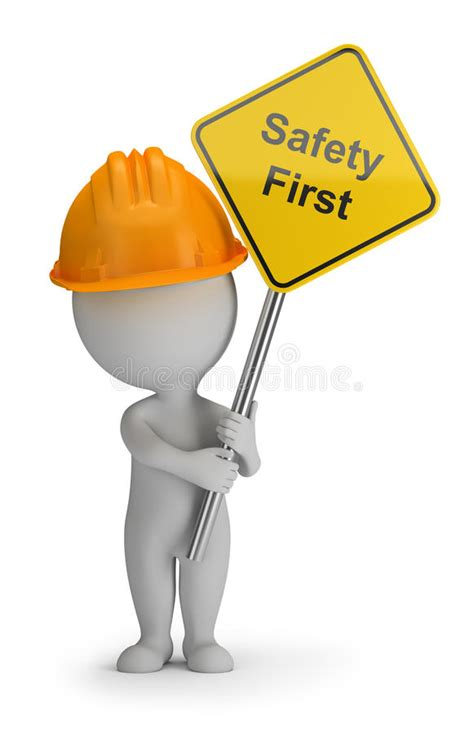 stock illustration of 3d man with safety equipment on 3d small people safety first stock illustration