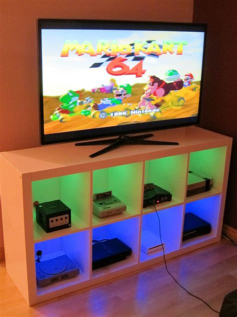 ikea game room i modified an ikea bookshelf to make a console cabinet