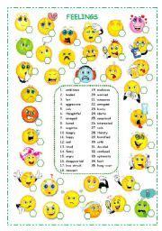 intermediate esl worksheets feelings