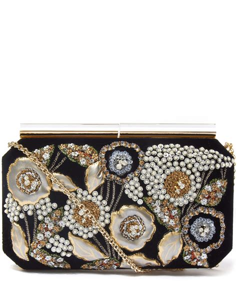 Oscar De La Renta Wicker Clutch by Oscar De La Renta Black Saya Evening Clutch Bag In Black