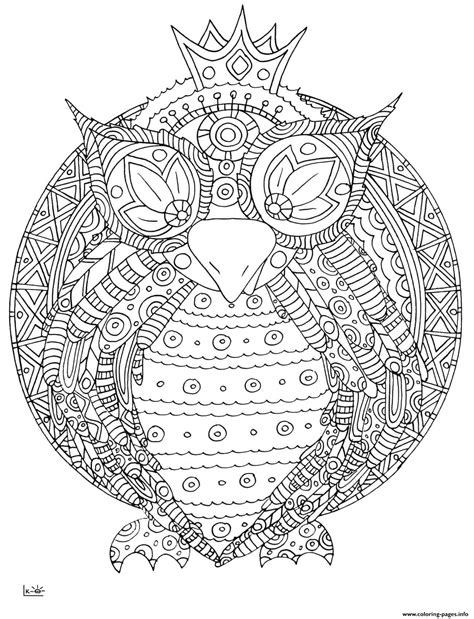 owl  tribal pattern adults coloring pages printable