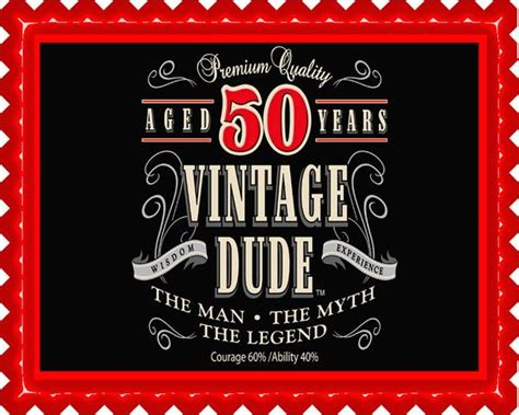Vintage Dude Th Edible Cake And Cupcake Topper De R