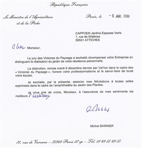 Lettre De Félicitation Entreprise Cappoen Paysagistes Lille Nord 59