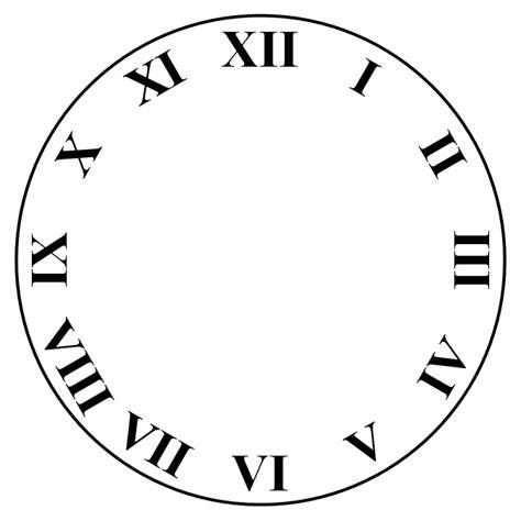 printable clock face roman numerals roman numeral clock face template clipart best