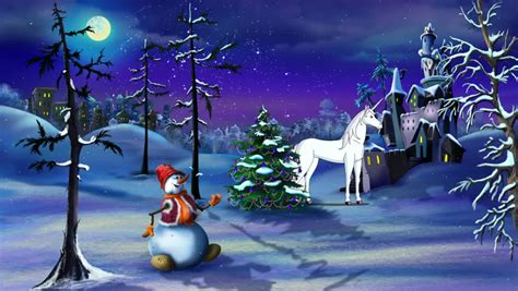christmas fantasy  magic unicorn stock footage video  royalty