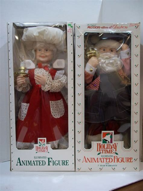 motion ettes of christmas figures animated telco motionette light up mrs santa claus pair moving decor ebay