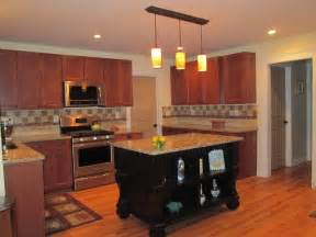 Kitchen Island From Cabinets Dark Cherry Color Kitchen Cabinets And Isles Home Design