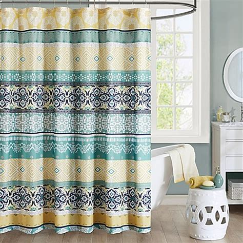 yellow and teal shower curtain intelligent design arissa printed shower curtain in green