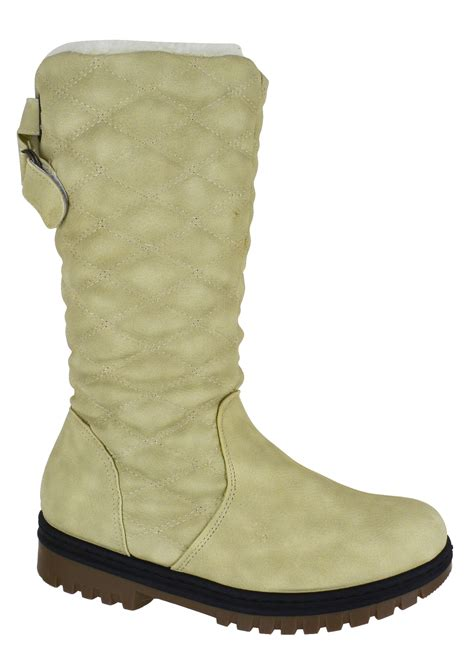 new winter womens quilted grip sole mid calf fur