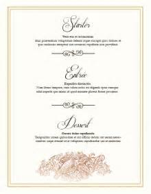 Menu Templates For Weddings by Free Wedding Menu Design Photoshop Templates Nextdayflyers