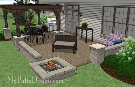 large rectangular paver patio design with fire pit pergola mypatiodesign com