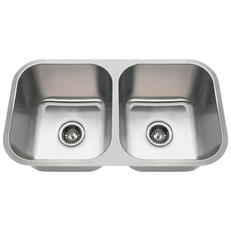 double bowl kitchen sink polaris sinks undermount stainless steel 32 in double