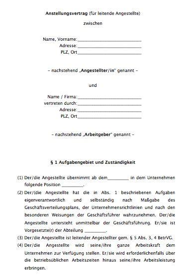 arbeitsvertrag leitender angestellter vorlage zum