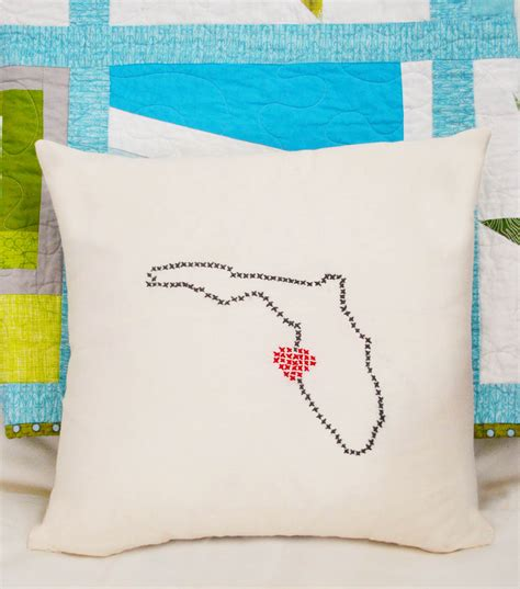 embroidered state pillow joann jo