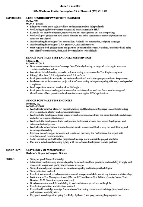 resume templates for software test engineer senior software test engineer resume sles velvet