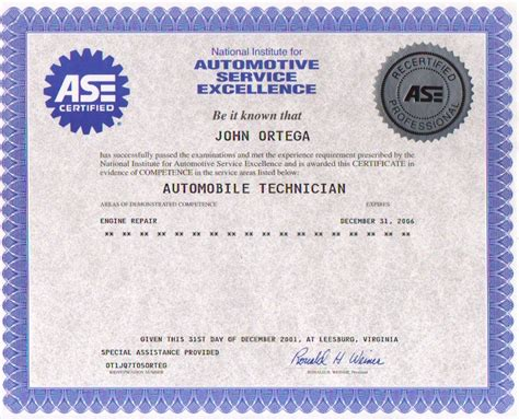 ase certificate template about me