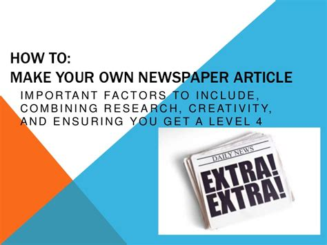 How To Make A News Paper Article - assignment how to create a newspaper article