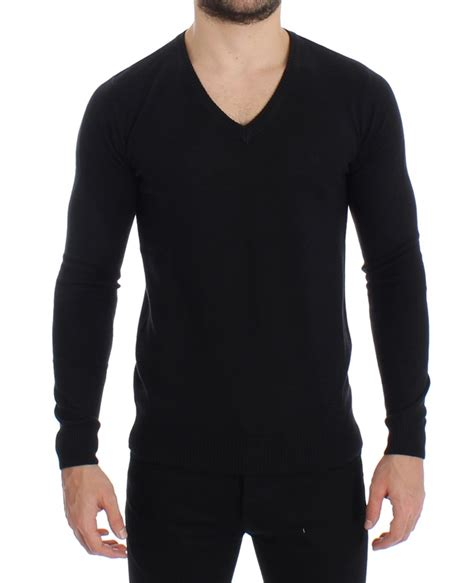 black wool blend mens v neck pullover sweater designer