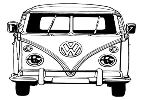 vw bus front coloring coloring pages