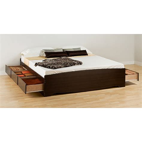 King Size Platform Bed With Drawers Espresso King Size Platform Storage Bed With Six Drawers By Prepac