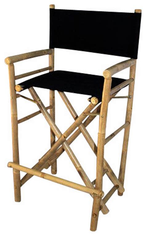 Director Chair Bar Stools by Set Of 2 Pieces Bar High Bamboo Director Chair Black