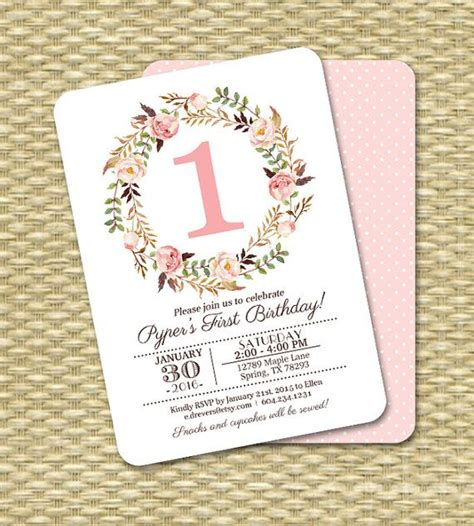 printable 1st birthday invitations girl 10 best dusty rose gold 1st birthday party images on