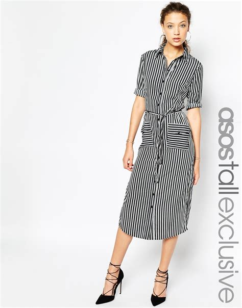 Striped Midi Shirt Dress lyst asos stripe midi shirt dress with belt in black