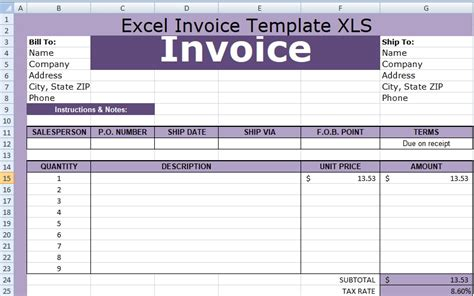 excel invoice template xls free xlstemplates