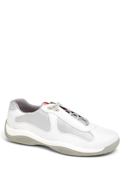 prada americas cup sneaker prada americas cup mesh leather sneaker in white for