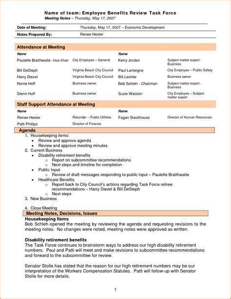 business meeting minutes template free 28 images doc 555717