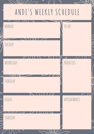 canva table template customize 174 weekly schedule planner templates online
