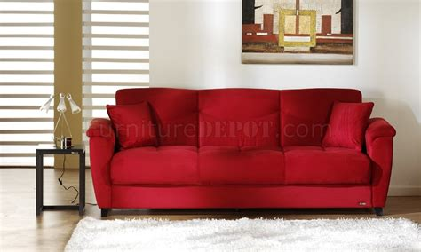 crimson sofa red microfiber fabric living room storage sleeper sofa