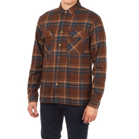 Kemeja Flannel Navy Brown brixton archie sleeve flannel shirt brown navy