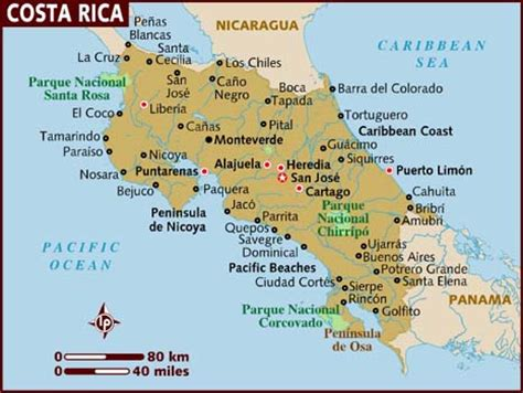 costa rica map with cities costa rica info costa rica 2010