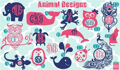 monogram ideas new designs monogrammed animal vinyl decals monogrammed