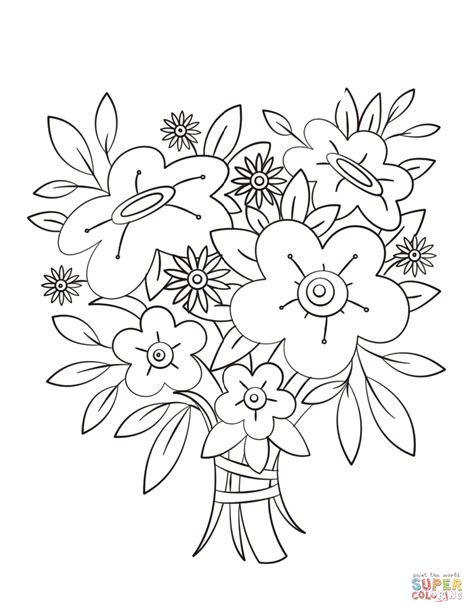 coloring pages flowers bouquet flowers bouquet coloring page free printable coloring pages