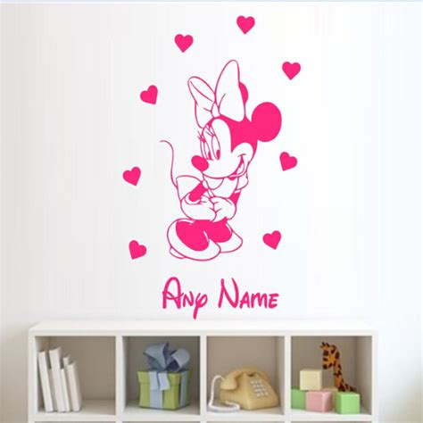 minnie mouse wall stickers free shipping minnie mouse personalised wall sticker name vinyl wall sticker wall decal
