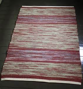 handwoven cotton fabric rag rug reds beige print