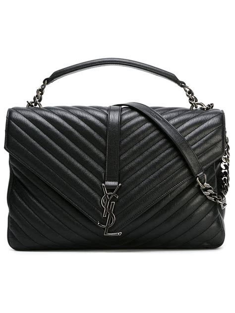 lyst saint laurent large college monogram satchel  black
